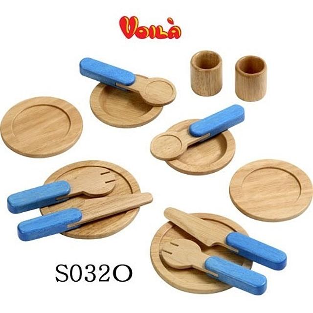 (브알라 식기놀이세트(S032O)) 테이블 식기세트 소꿉놀이 소꼽놀이 주방놀이 원목완구 장난감 완구